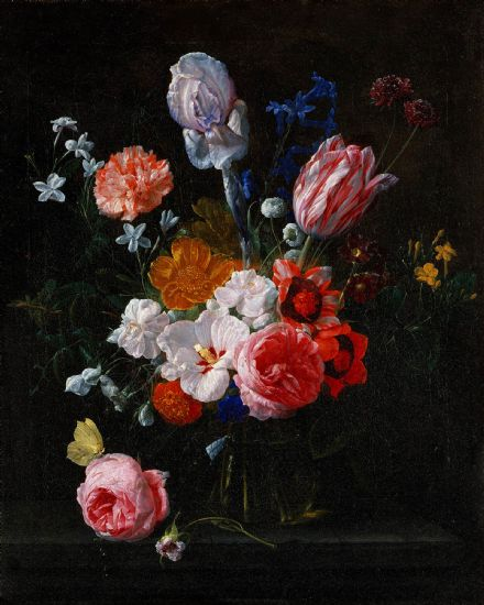 Verendael, Nicolaes van: A Bouquet of Flowers in a Crystal Vase . Fine Art Print/Poster. (5248)